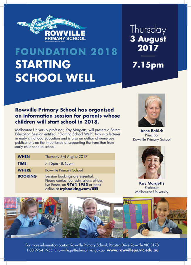 RowvillePS Foundation Info Night 2018
